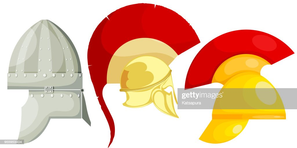 Set of ancient bronze military helmets. Vector illustration of helmets for battle. Set of images 'nof ancient armor of Rome, Greece, Persia.