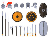 Set of ancient weapon and protective equipment.