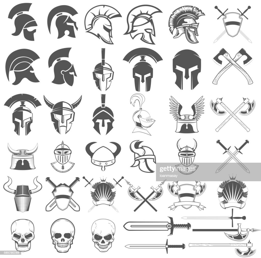 Set of ancient weapon, helmets, swords and design elements.