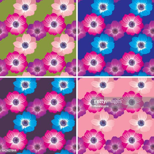 set of anemones patterns - ranunculus stock illustrations, clip art, cartoons, & icons