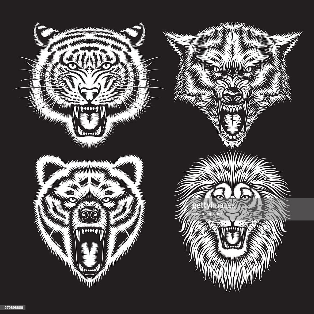 Set of Angry Animal Heads