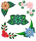 Set of angular design elements doodle flowers and leaves.