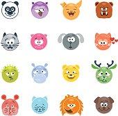 Set of animal emoticons