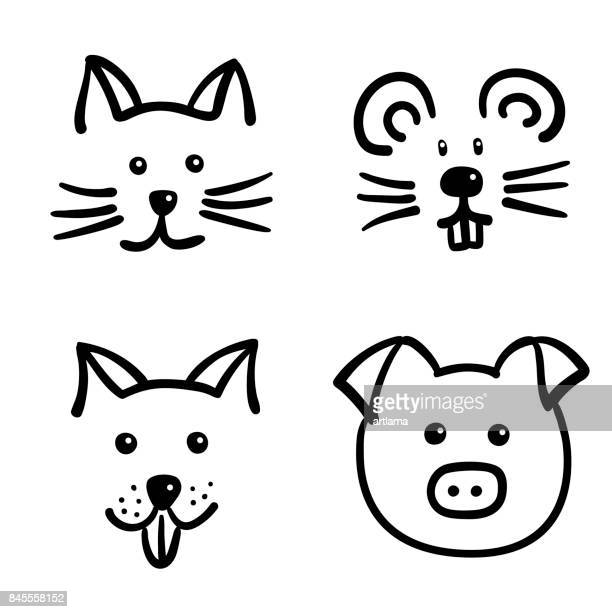 illustrations, cliparts, dessins animés et icônes de set de visages animaux - chat humour