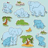 Set of animals and objects, vector family of elephants