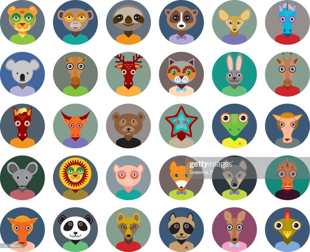 Set of animals faces circle icons set Trendy Flat Style.