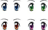 Set of anime eyes of different colors