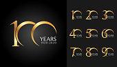 Set of anniversary badges. Golden anniversary celebration emblem design for company profile, booklet, leaflet, magazine, brochure poster, web, invitation or greeting card.