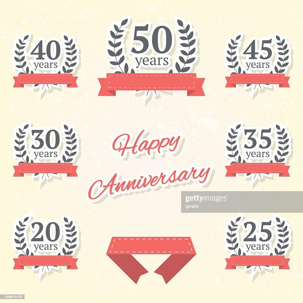 Set of anniversary elements