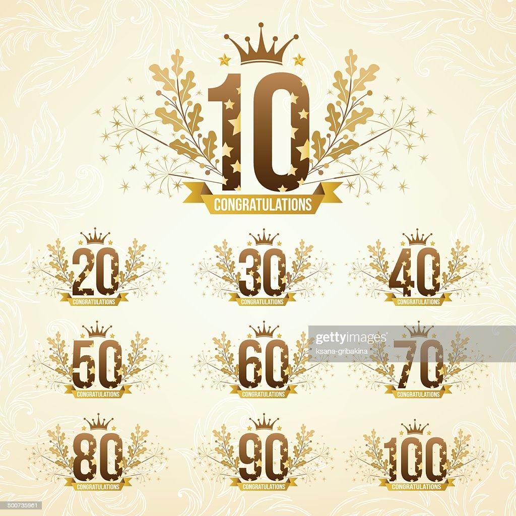 Set of anniversary emblems.