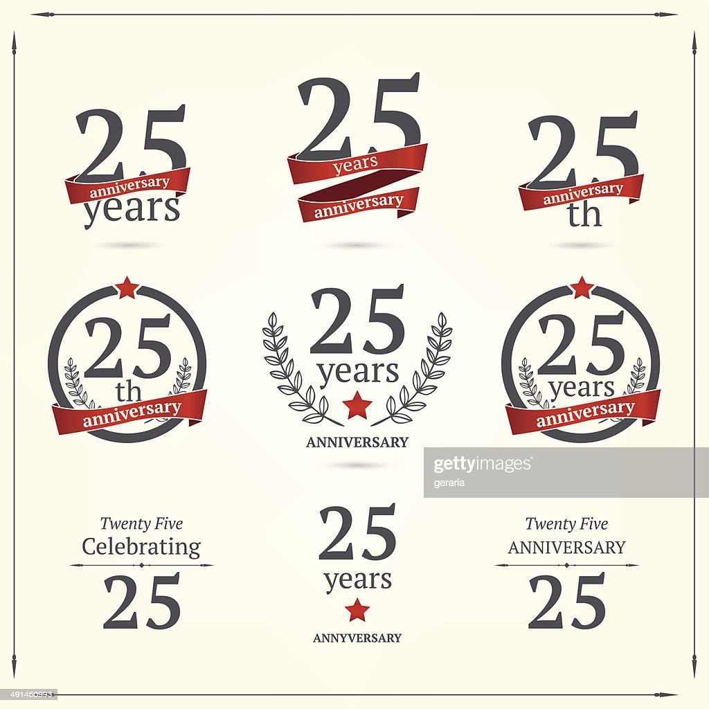 Set of anniversary twenty five signs