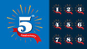 Set of anniversary type. Fireworks anniversary design template for booklet, leaflet, magazine, brochure poster, web, invitation or greeting card.