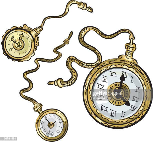 Set of antique pocket watches on white background