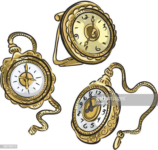 Set of antique pocket watches on white