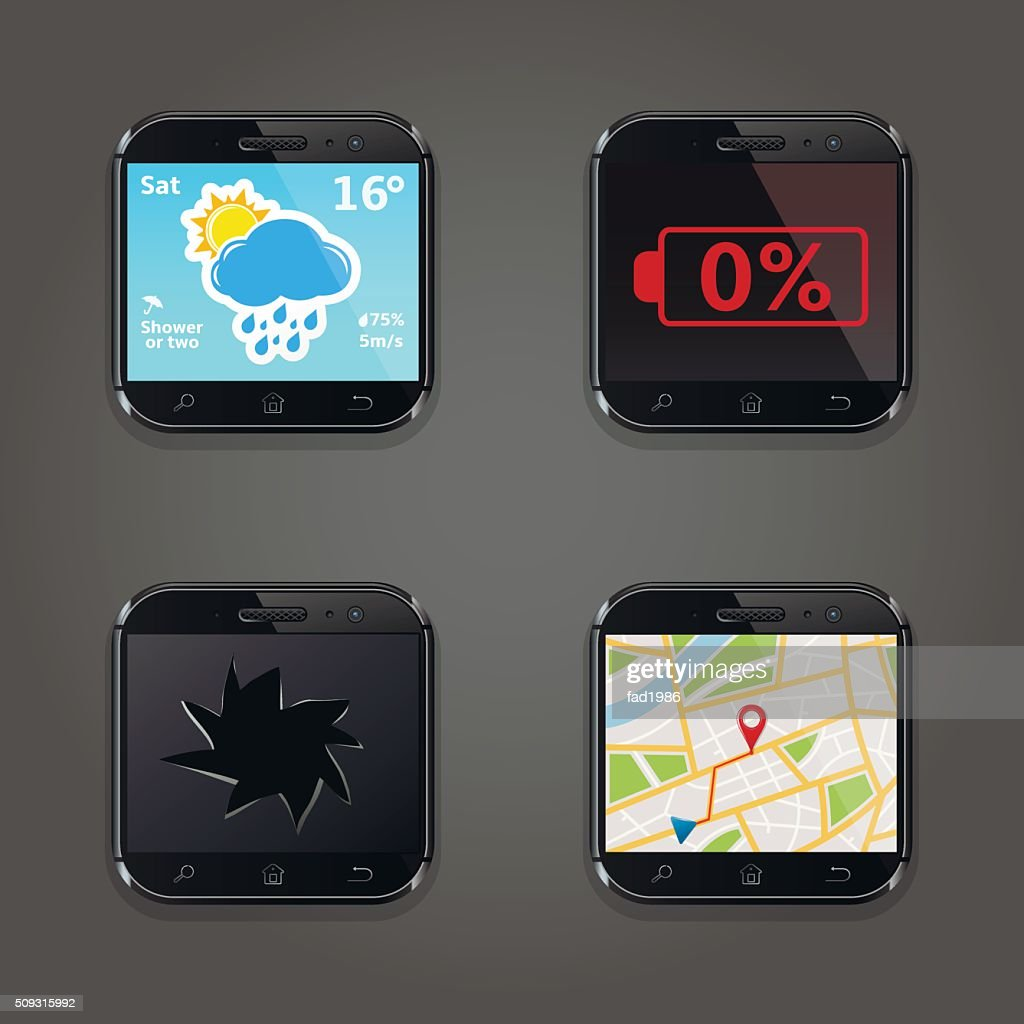 Set of app icons in smartphone style