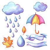 Set of aquarelle umbrella, clouds and rain