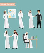 set of arab man business character at office work.