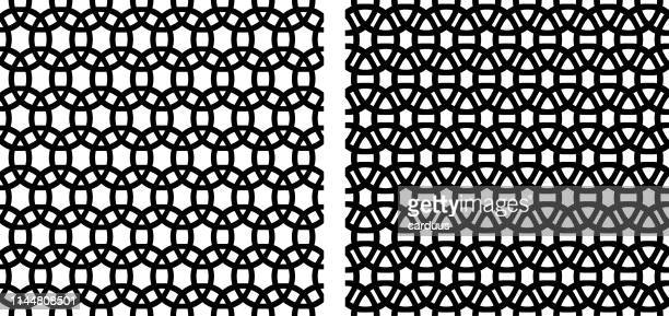 set of  arabian  black and white  seamless  patterns