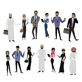 Set of arabic business woman and businessman