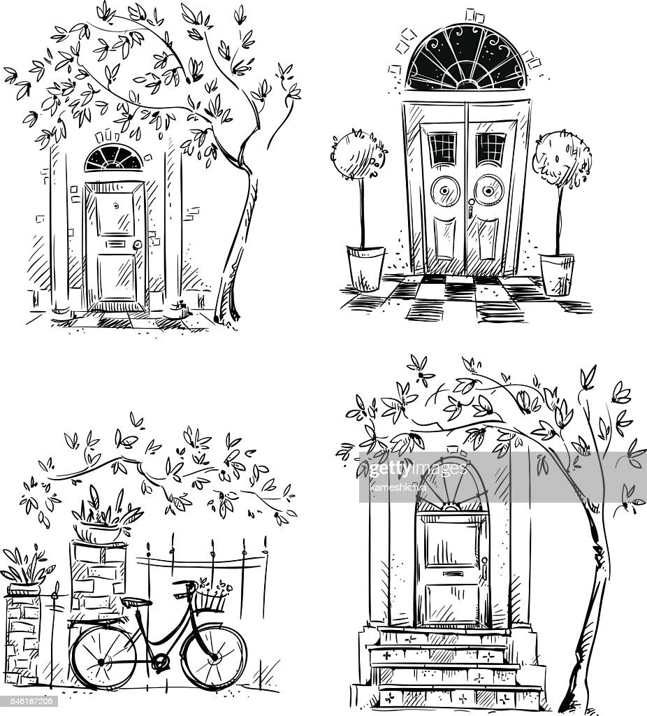 Set of architecture details drawings. Doors.