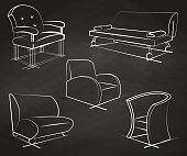 Set of armchairs drawn chalk on a chalkboard.Vector illustration in a sketch style.