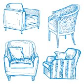 Set of armchairs isolated on white background.Vector illustration in a sketch style.