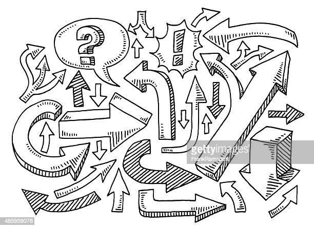 satz pfeile zeichnen - chaos stock-grafiken, -clipart, -cartoons und -symbole