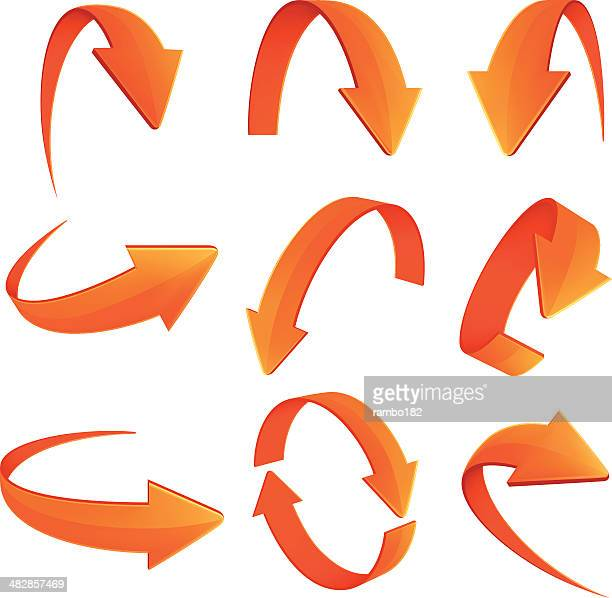 set of arrows - curve stock illustrations