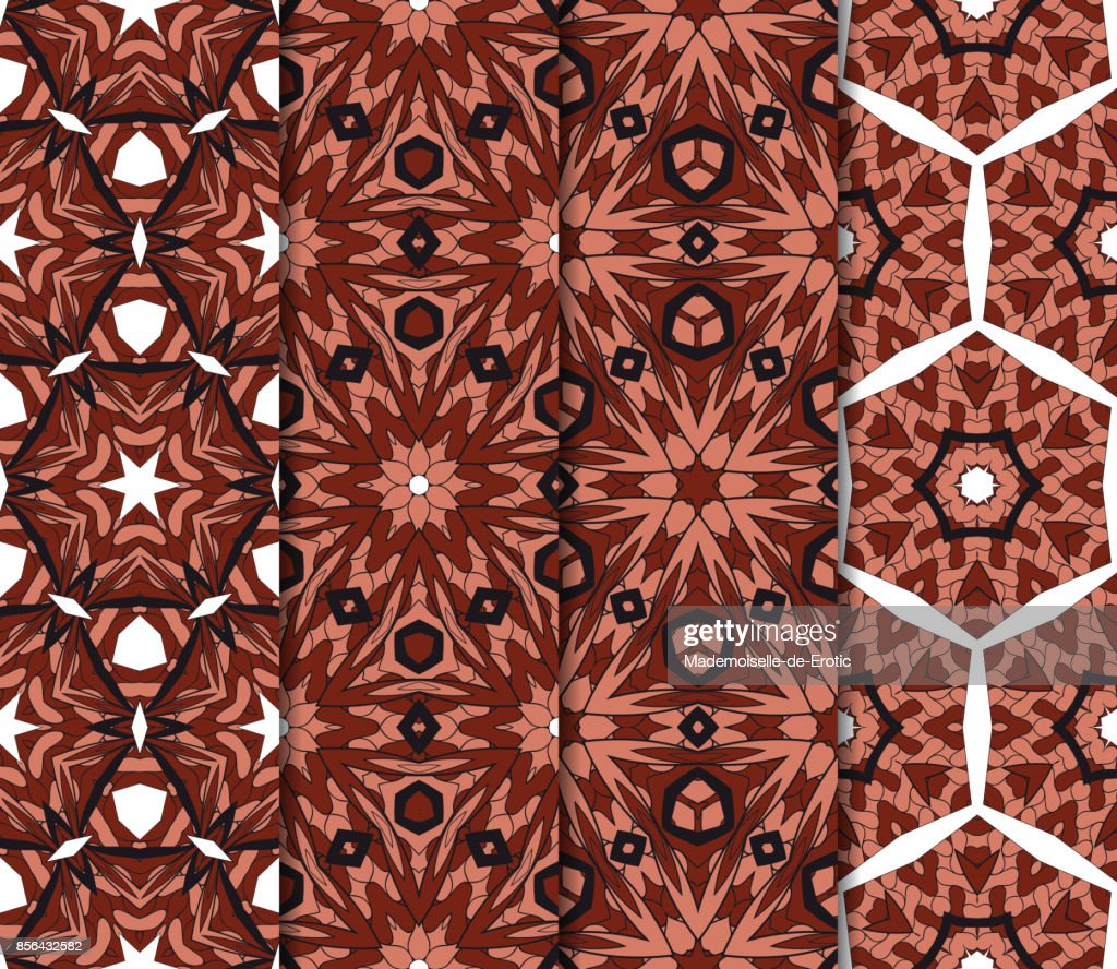 Satz Von Kunst Und Mode Geometrische Nahtlose Muster. Vektor Illustration.  Braune Farbe. Design Für Tapete, Stoff