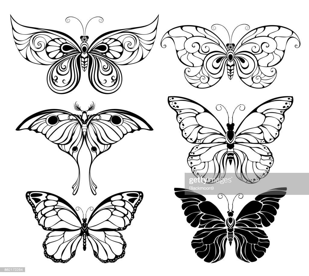Set of art butterflies