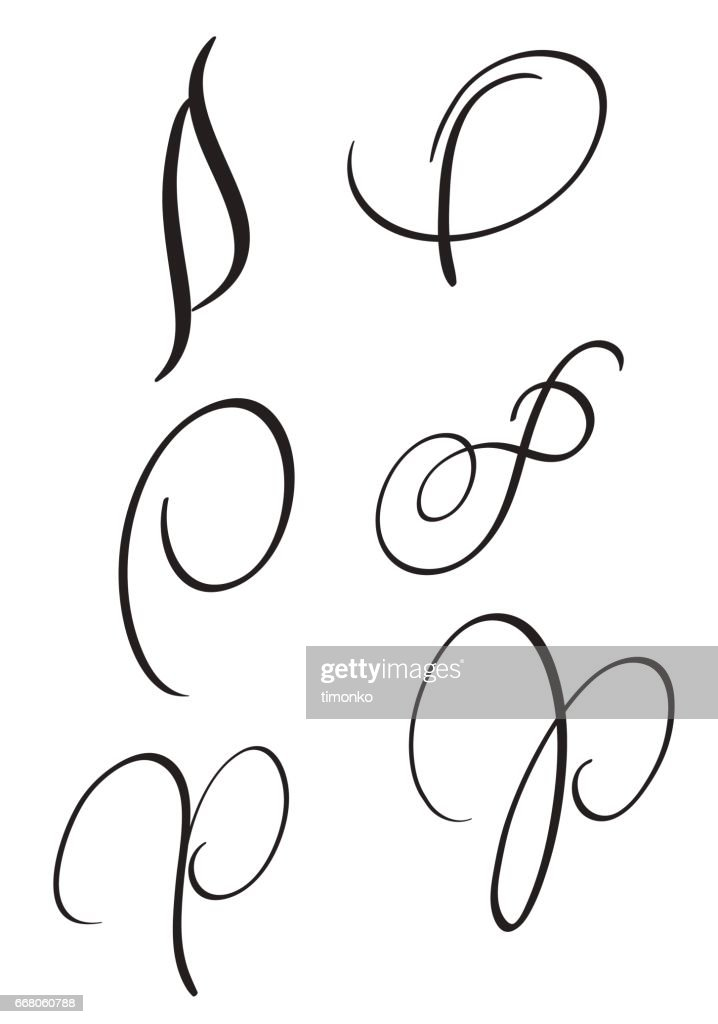 Set Of Art Calligraphy Letter P With Flourish Vintage Decorative Whorls Vector Illustration EPS10