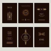 Set of Art Deco Cards and Vintage Frames