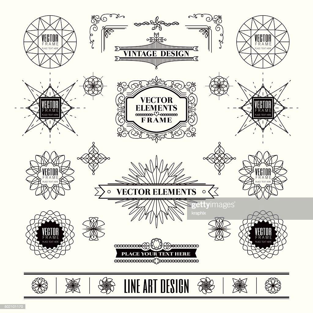 Set of art deco retro vintage design frame and badge