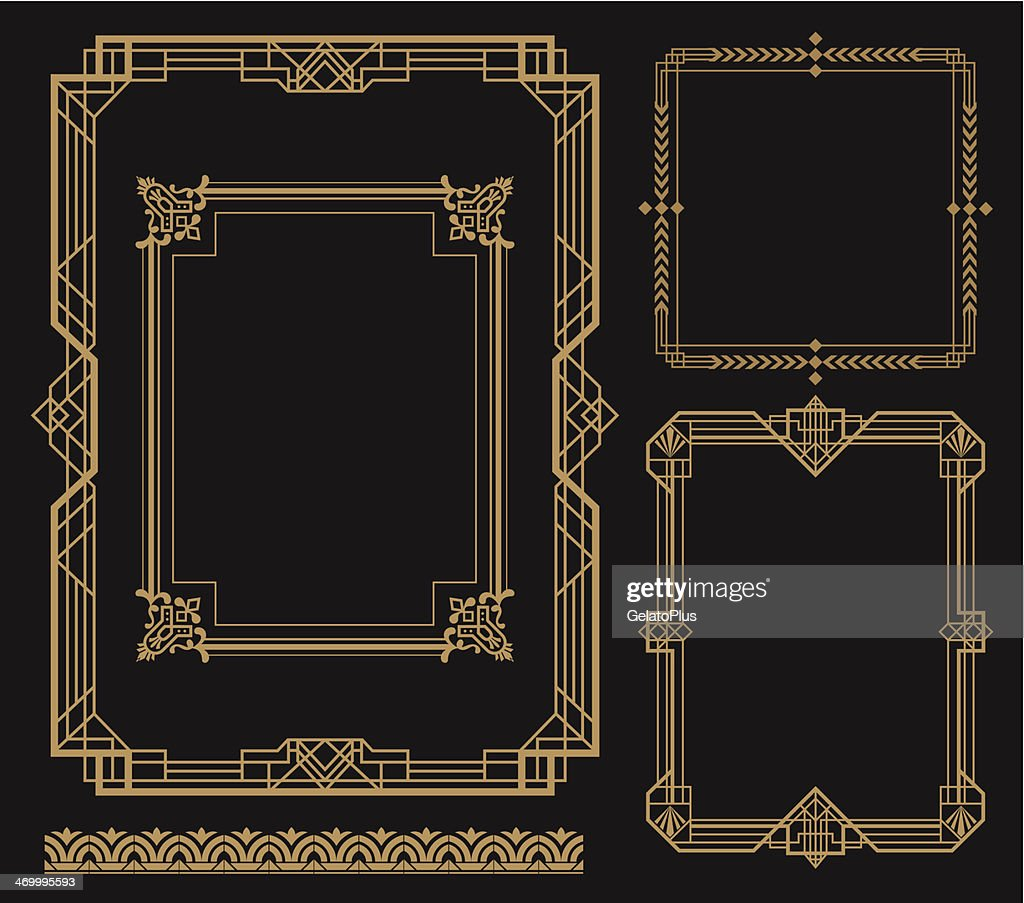 Set of art frames with various designs : stock illustration