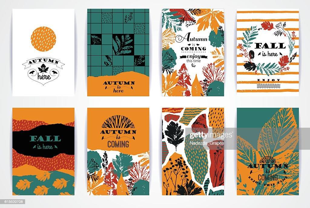 Set of artistic creative autumn cards.