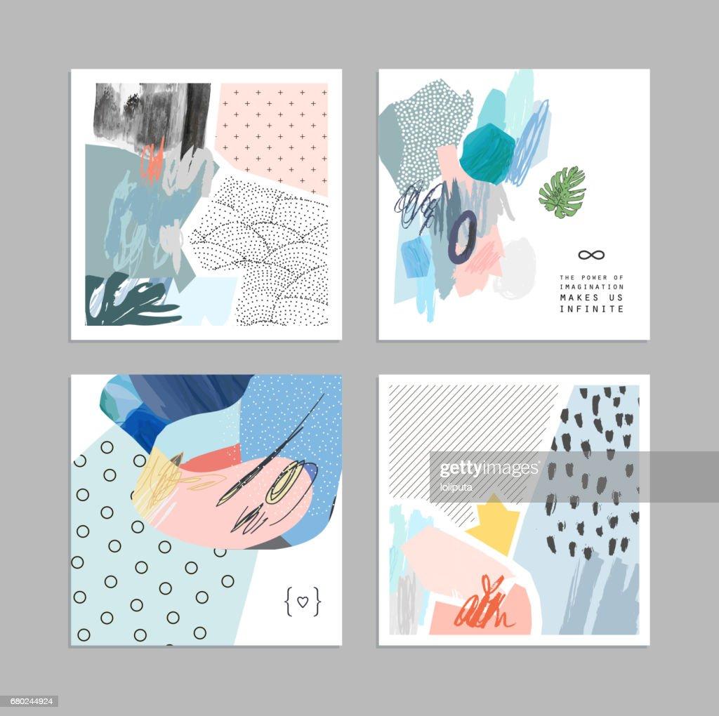 Set Van Artistieke Creatieve Universele Kaarten Hand Getekende