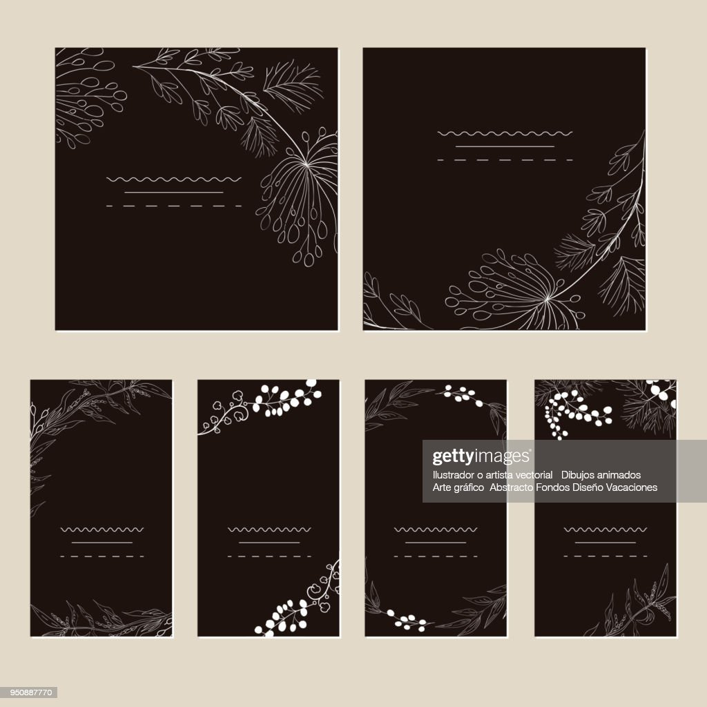 Set of artistic creative universal cards