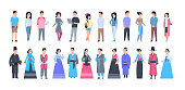 Set Of Asian People Wearing Traditional Costumes And Modern Clothes Full Length Isolated