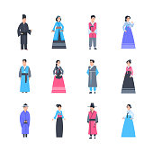 Set Of Asian People Wearing Traditional Costumes Male And Female In National Clothes Full Length Isolated