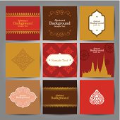 Set of Asian traditional art Design Vector.