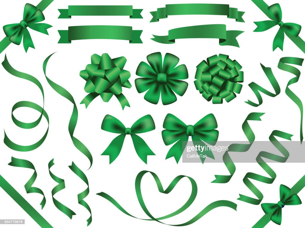 A set of assorted green ribbons, vector illustration.