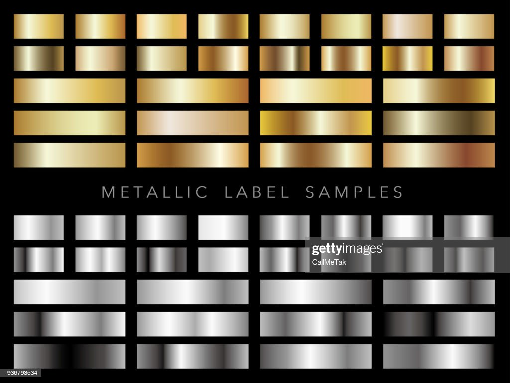 Set of assorted metallic label samples.