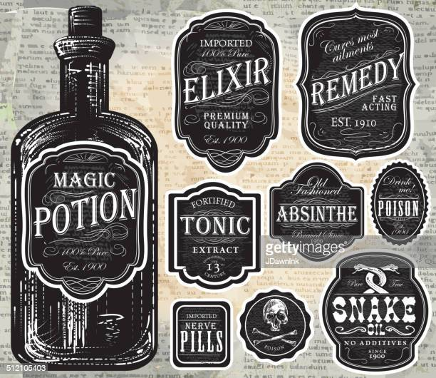 Set of assorted old fashioned black and white labels bottles