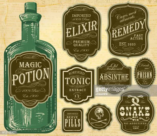 set of assorted old fashioned green and brown labels bottles - antique stock illustrations