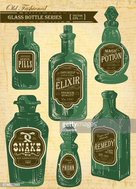 Set of assorted old fashioned labels with bottle on paper