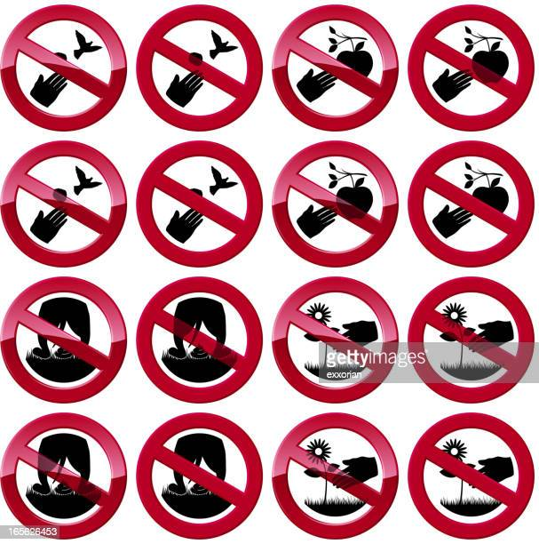 set of assorted prohibited signs - defecating stock illustrations, clip art, cartoons, & icons