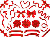 A set of assorted red ribbons.