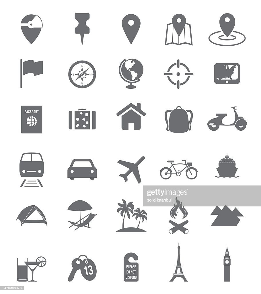 Set of assorted travel icons in white background