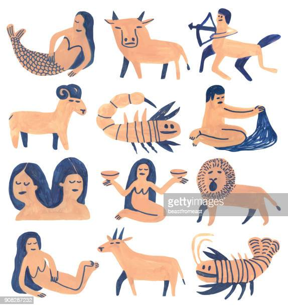 illustrazioni stock, clip art, cartoni animati e icone di tendenza di set of astrology signs - donna nuda