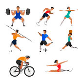 Set of athletes with prosthetic limbs on a white background.